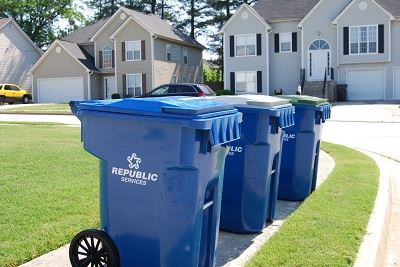 Garbage carts in neighborhood