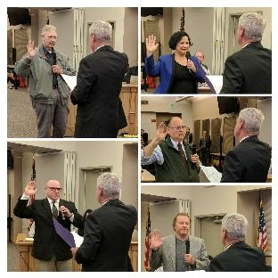 Council member swearing in collage