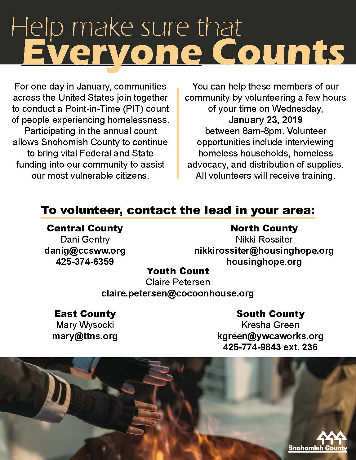 2019 Point in Time Homeless Count Flyer