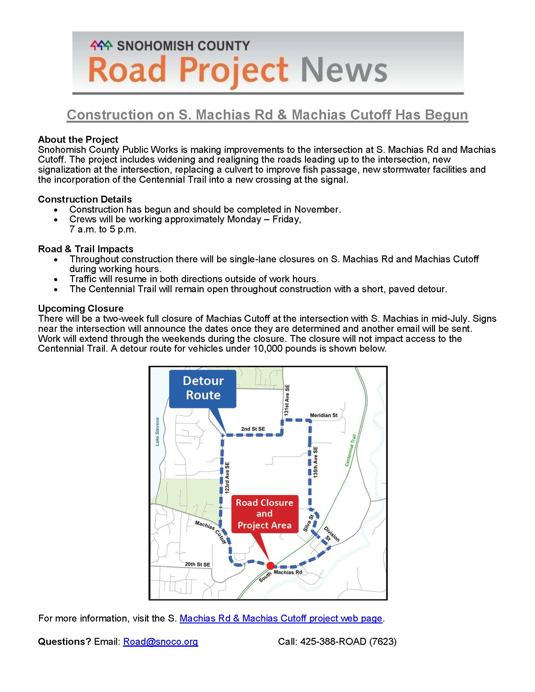 S. Machias Rd - Machias Cutoff Project